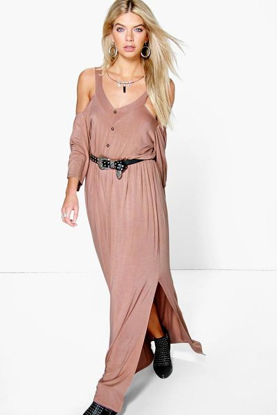 Boohoo Amy Button Front Cold Shoulder Maxi Dress in sand - Dresses are the most-wanted wardrobe item for...