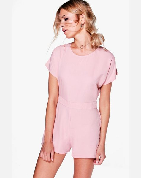 Boohoo Amy Capped Sleeve Solid Colour Playsuit in nude - Perfect for day or play, a playsuit will solve...