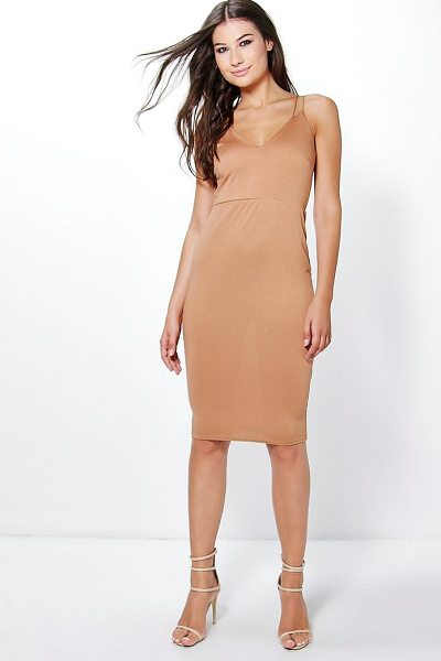 Boohoo Amy Double Strap Plunge Midi Dress in tan - Dresses are the most-wanted wardrobe item for...