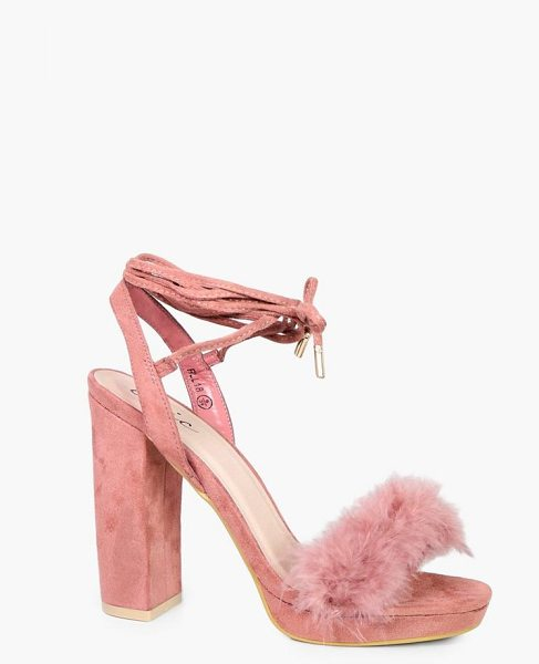 BOOHOO Amy Faux Feather Trim Ankle Wrap Platform Heel in blush - We'll make sure your shoes keep you one stylish step...