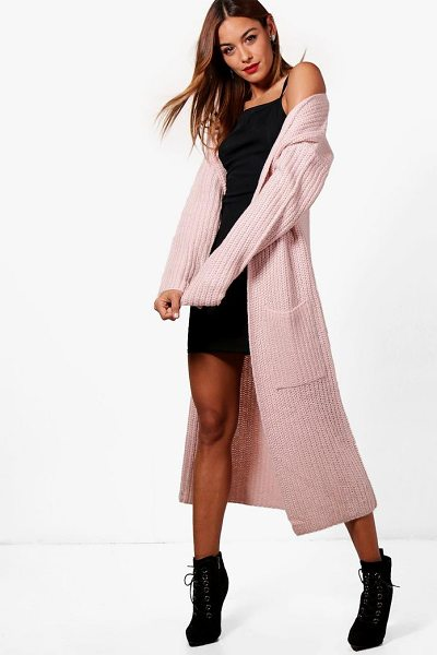 Boohoo Amy Longline Pocket Front Cardigan in blush