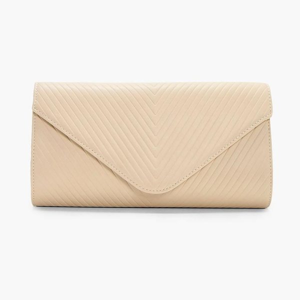 Boohoo Amy Quilted Clutch in cream - Add attitude with accessories for those fashion-forward...