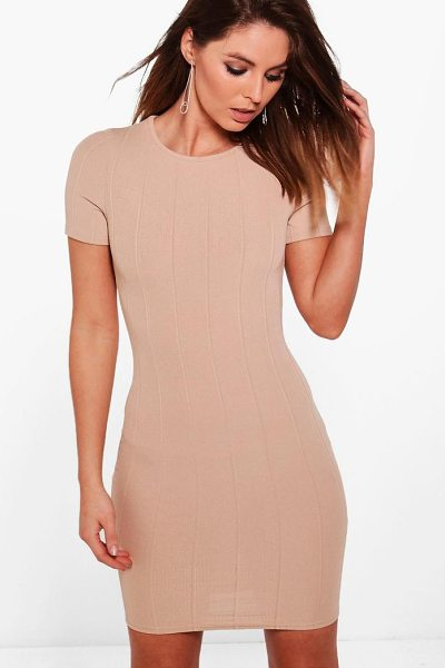 BOOHOO Amy Ribbed Short Sleeve Bodycon Dress - Dresses are the most-wanted wardrobe item for...
