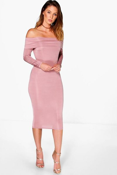Boohoo Amy Slinky Oversized Off The Shoulder Midi Dress in rose
