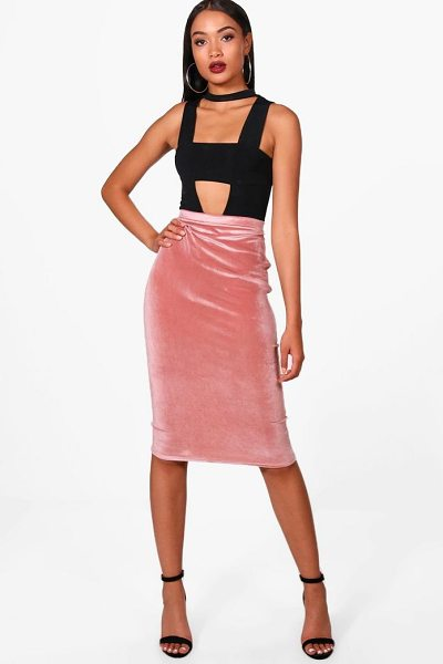 Boohoo Amy Velvet Bodycon Midi Skirt in blush - Skirts are the statement separate in every wardrobe This...