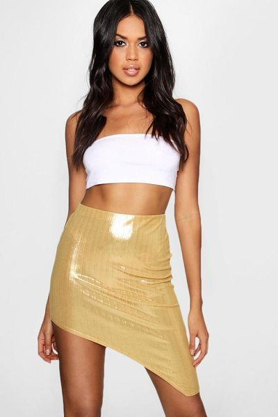 Boohoo Metallic Extreme Split Midi Skirt in gold - Skirts are the statement separate in every wardrobe This...