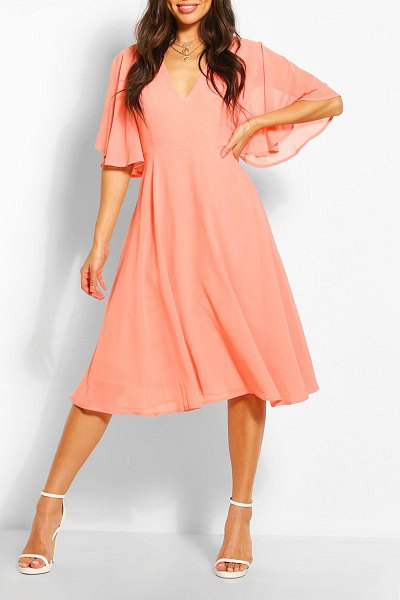 Boohoo Angel Sleeve Midi Skater Dress in coral