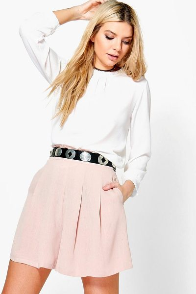 Boohoo Angela Ruffle Waist Pleated Shorts in sand - Parade your pins in a pair of shortsA versatile...