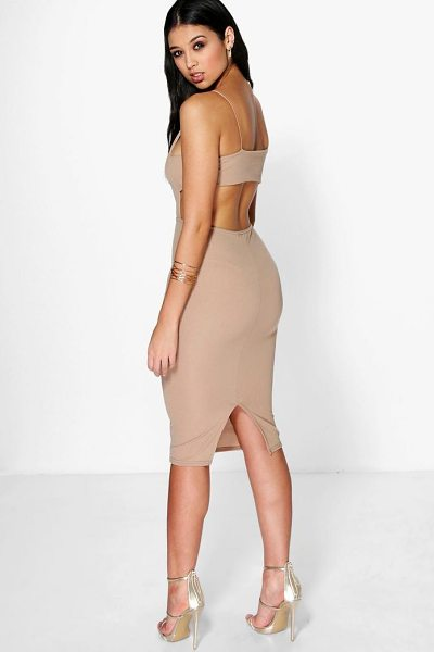 BOOHOO Ania Square Neck Wide Back Strap Midi Dress - Dresses are the most-wanted wardrobe item for...