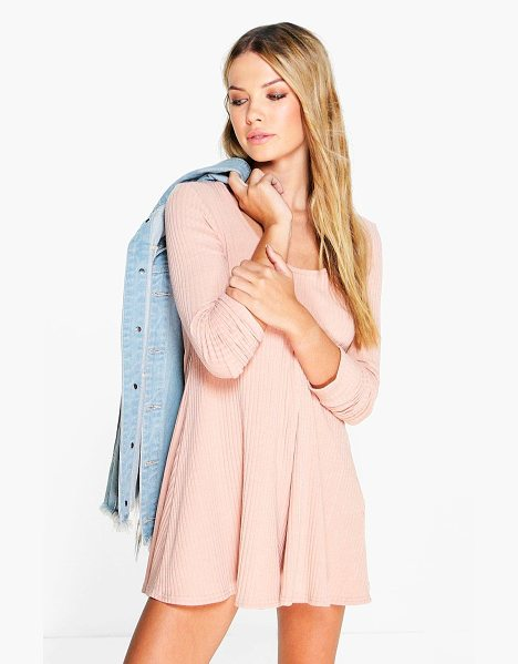 Boohoo Anii Ribbed Long Sleeve Swing Playsuit in blush - Perfect for day or play, a playsuit will solve your...
