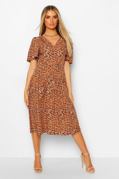 Boohoo Animal Print Asymetric Frill Hem Midi Dress in camel