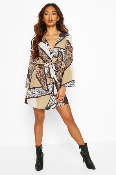 Boohoo Animal Print Knot Wrap Dress in brown