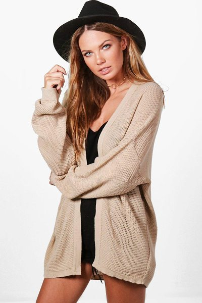 Boohoo Anna Batwing Cardigan in stone - Nail new season knitwear in the jumpers and cardigans...