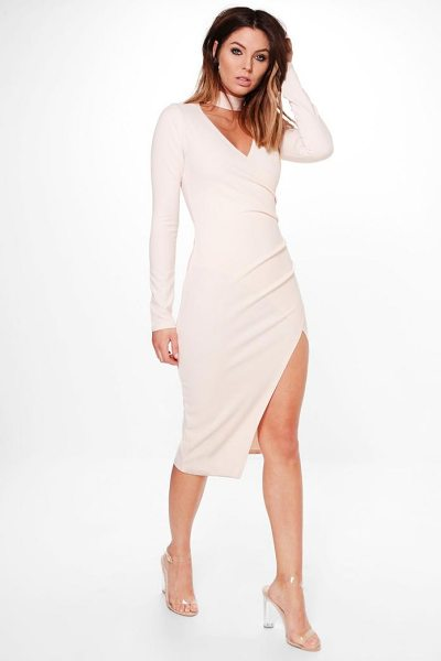 Boohoo Anna Choker Wrap Long Sleeve Midi Dress in nude - Dresses are the most-wanted wardrobe item for...