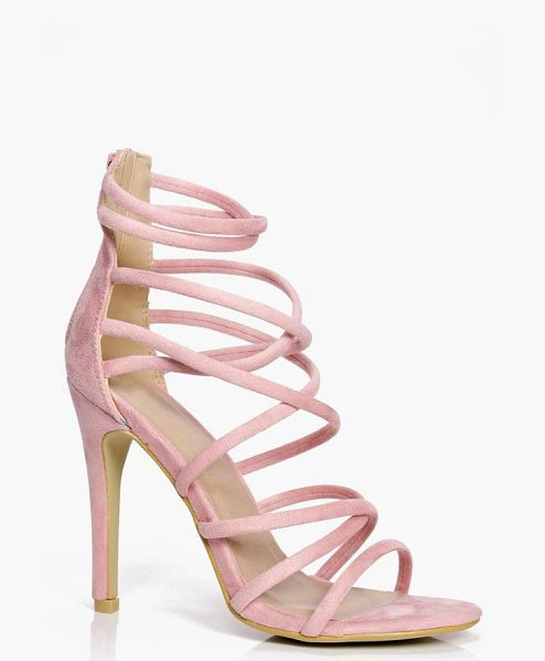 Boohoo Cross Strap Heels in pink - We'll make sure your shoes keep you one stylish step...
