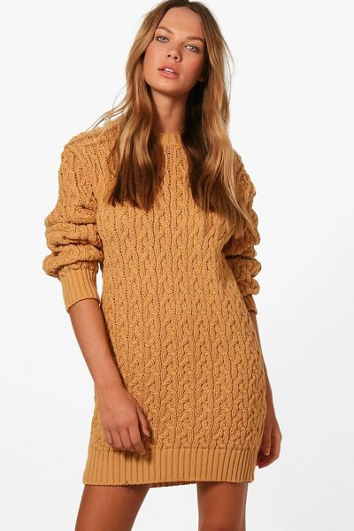 BOOHOO Anna Full Cable Knit Jumper Dress - Nail new season knitwear in the jumpers and cardigans...
