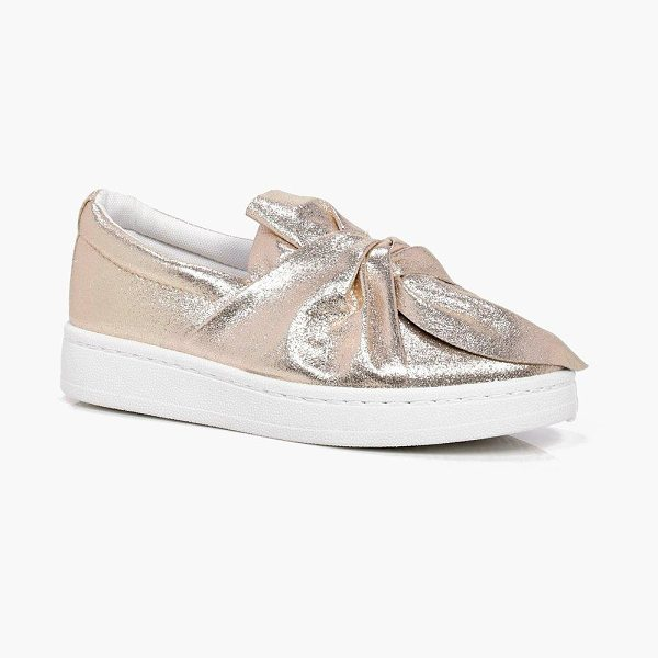 Boohoo Anna Knot Front Skater in rose gold - We'll make sure your shoes keep you one stylish step...