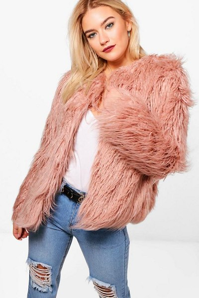 Boohoo Mongolian Faux Fur Coat in dusky pink - Wrap up in the latest coats and jackets and get...
