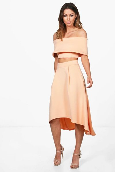 Boohoo Anna Off Shoulder Crop & Dip Hem Co-ord Set in apricot - Co-ordinates are the quick way to quirky this seasonMake...