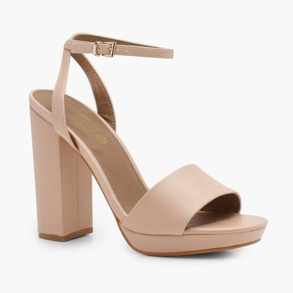 Boohoo Platform 2 Part Heels in nude
