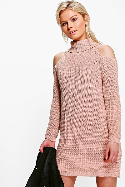 Boohoo Anna Roll Neck Cold Shoulder Jumper Dress in blush - Nail new season knitwear in the jumpers and cardigans...