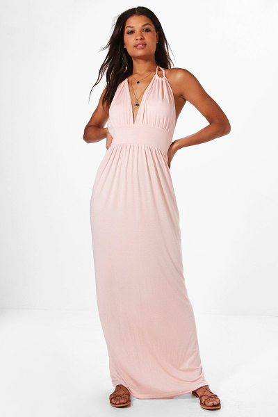 Boohoo Halterneck Maxi Dress in blush - Dresses are the most-wanted wardrobe item for...