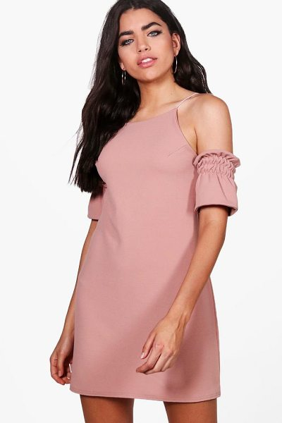 Boohoo Strappy Ruched Shift Dress in rose - Dresses are the most-wanted wardrobe item for...