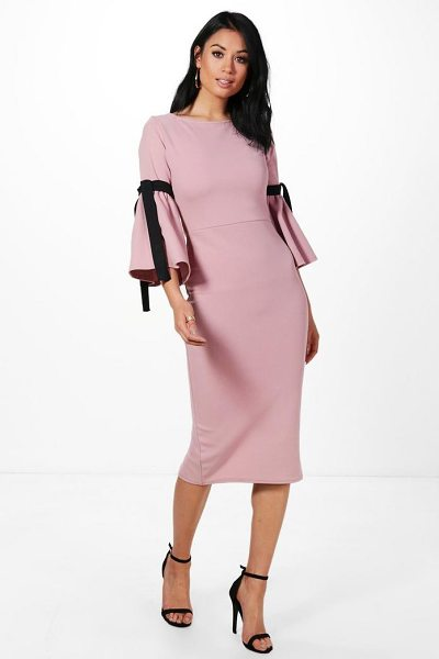 Boohoo Annabel Tie Sleeve Midi Dress in mauve