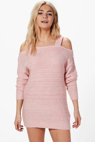 Boohoo Annabelle Marl Cold Shoulder Jumper Dress in blush - Nail new season knitwear in the jumpers and cardigans...