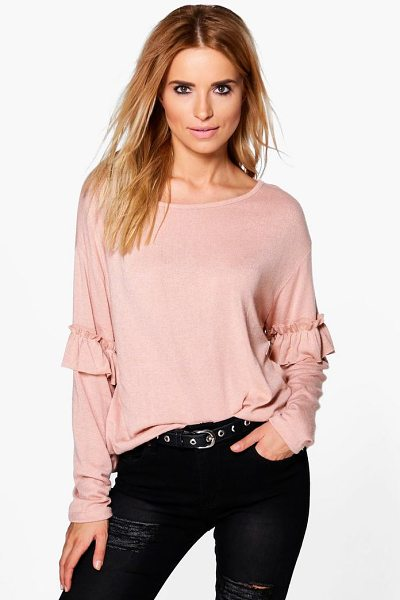 Boohoo Annabelle Ruffle Sleeve Jumper in blush - Nail new season knitwear in the jumpers and cardigans...