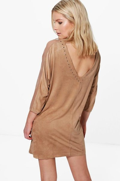 Boohoo Annabelle Studded Lace Trim Dress in beige - Dresses are the most-wanted wardrobe item for...