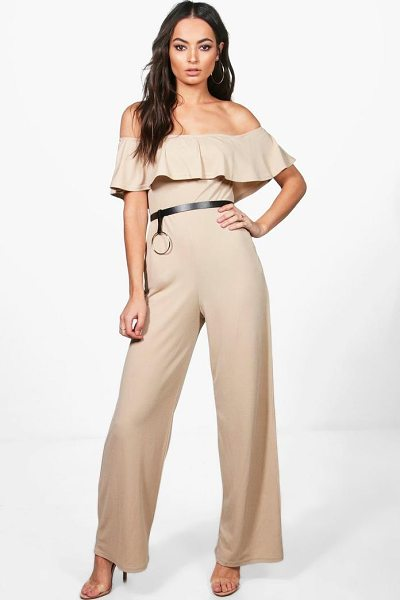 Boohoo Bardot Ruffle Wide Leg Jumpsuit in stone - Jump start your new season wardrobe with the always chic...