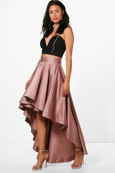 Boohoo Annia Satin Dipped Hem Full Maxi Skirt in mauve - Skirts are the statement separate in every wardrobe This...
