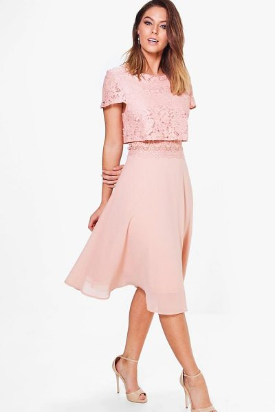 Boohoo Lace Top Chiffon Skater Dress in blush - Dresses are the most-wanted wardrobe item for...