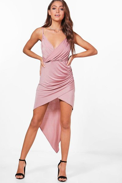 Boohoo Annie Wrap Slinky Dip Hem Bodycon Dress in rose - Dresses are the most-wanted wardrobe item for...