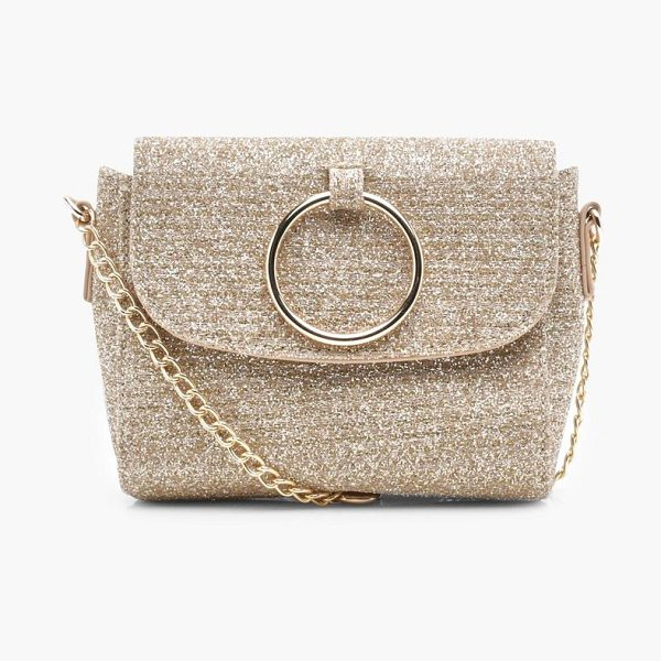 Boohoo Antoinette O Ring Metallic Cross Body Bag in gold