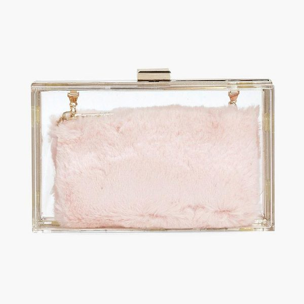 BOOHOO Anya Clear Faux Fur Purse Clutch Bag - Add attitude with accessories for those fashion-forward...