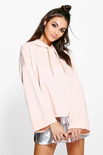 BOOHOO April Wide Sleeve Oversized Hoody in pale%20pink - Steal the style top spot in a statement separate from...