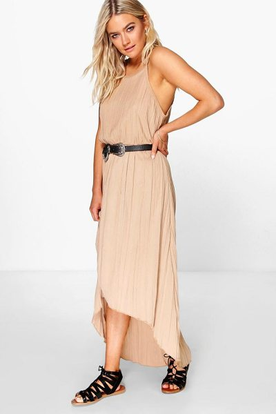 Boohoo Arabella Pleated Maxi Dipped Hem Dress in sand - Pared back day dresses are the perfect base for layering...