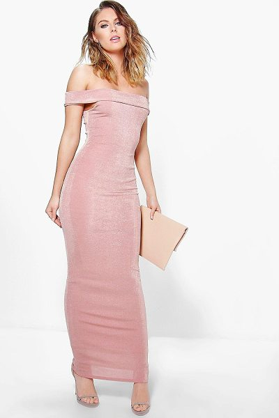 BOOHOO Arbella Textured Slinky Off The Shoulder Maxi Dress in rose - Get dance floor-ready in an entrance-making evening...