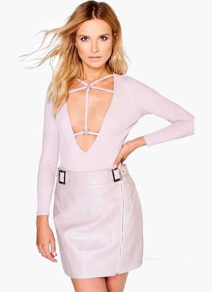 Boohoo Aria Buckle Front Zip Detail Leather Look Mini Skirt in blush - Knock 'em dead and show off those pins with a killer...