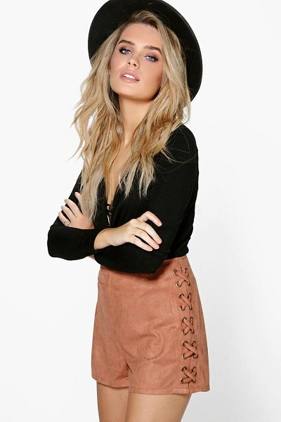Boohoo Aria Lace Up Side Faux Suede Shorts in tan - Parade your pins in a pair of shortsA versatile...