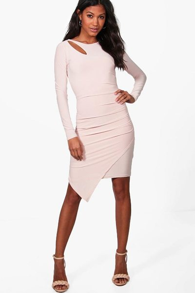 Boohoo Aria Slinky Ruched Detail Long Sleeve Bodycon Dress in nude