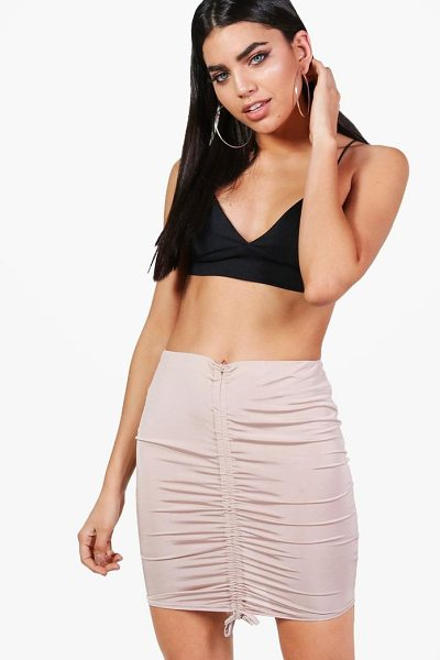 Boohoo Ariah Drawcord Slinky Midi Skirt in sand - Skirts are the statement separate in every wardrobe This...