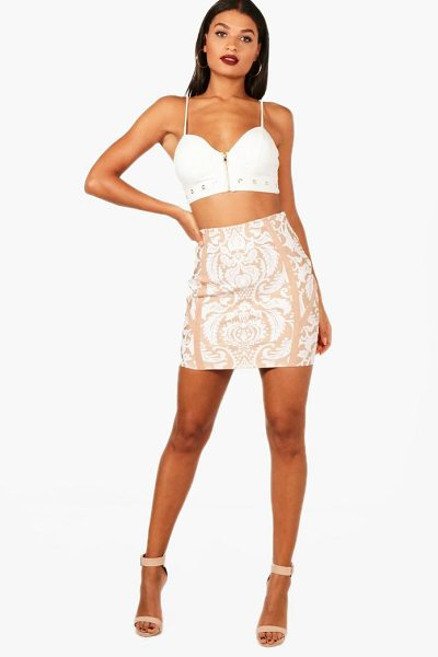 Boohoo Premium Heavy Bandage Printed Mini Skirt in nude - Skirts are the statement separate in every wardrobe This...