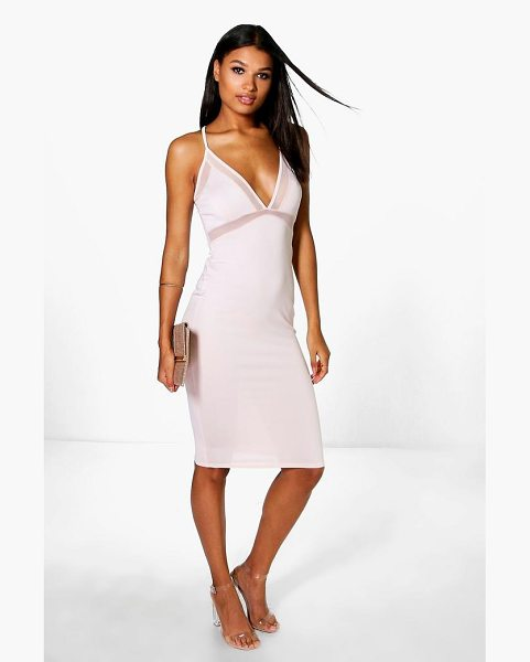Boohoo Ariane Mesh Strappy Midi Bodycon Dress in blush - Dresses are the most-wanted wardrobe item for...