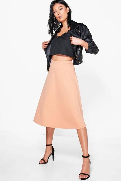 Boohoo Arianna Plain Full Circle Midi Skirt in nude - Skirts are the statement separate in every wardrobe This...