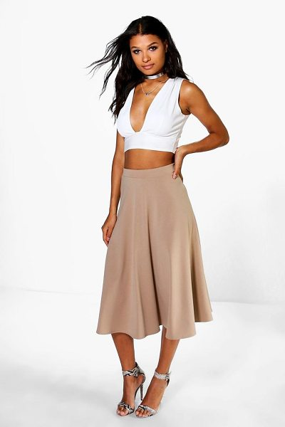 Boohoo Arianna Plain Full Circle Midi Skirt in sand - Skirts are the statement separate in every wardrobe This...