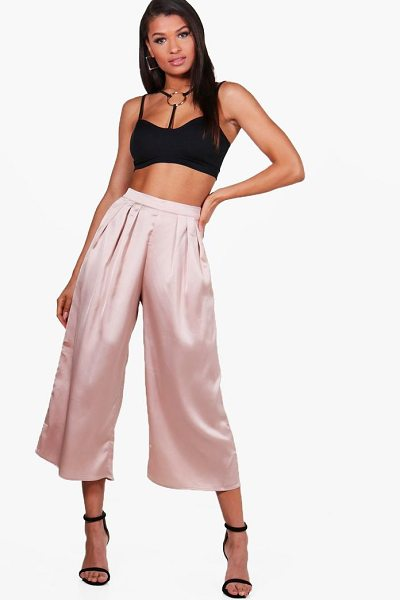 Boohoo Arianna Pleat Front Satin Wide Leg Culottes in champagne - Trousers are a more sophisticated alternative to...