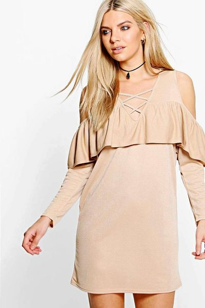 BOOHOO Ash Lace Up Cold Shoulder Ruffle Shift Dress - Dresses are the most-wanted wardrobe item for...